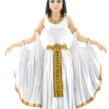 Cleopatra Wearing Isis Headdress and Ceremonial Gown Statue 10.25H