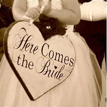 Heart Shape Here Comes The Bride Sign Classic Wooden Wedding Decoration