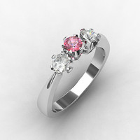 Pink diamond ring, Diamond, white gold, engagement ring, three stone, pink diamond, pink, trinity ring, pink engagement