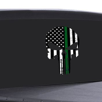 Punisher Skull Window Decal Thin Green Line Vinyl Graphic Veterans Support FLAG