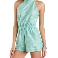 Racer Front Lace Romper by Charlotte Russe