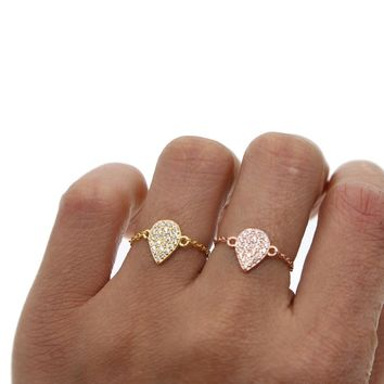 silver gold rose gold 3 colors open adjust delicate chain tear drop charm 925 sterling silver women chain ring