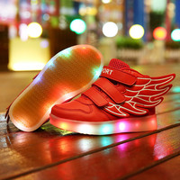 Children led USB charging light shoes shoes colorful luminous shoes lace wings flash shoes