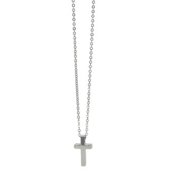 Dear Deer Stainless Steel Simple Cross Pendant Necklace Silver Tone