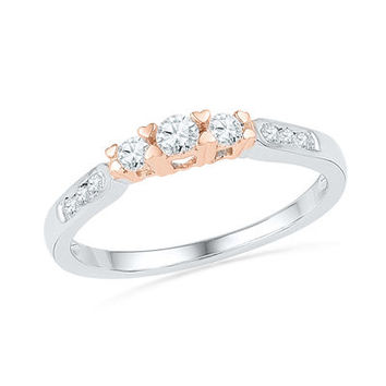 1/4 CT. T.W. Diamond Three Stone Promise Ring in 10K Two-Tone Gold - View All Rings - Zales