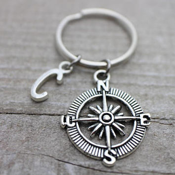 Custom initial compass antique silver key ring