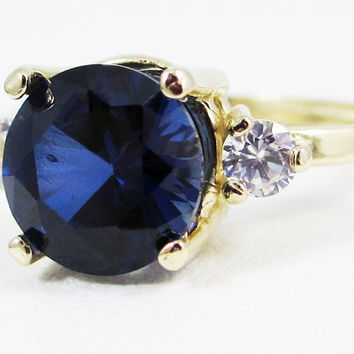 Blue Sapphire and CZ Ring 14k Yellow Gold Ring