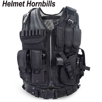 Helmet Hornbills Police Tactical Vest Outdoor Camouflage Military Sports Wear Hunting Vest Army Swat Molle Vest Black