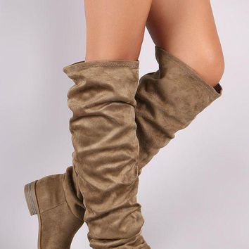 ONETOW Wild Diva Lounge Suede Slouchy Riding Knee High Boots