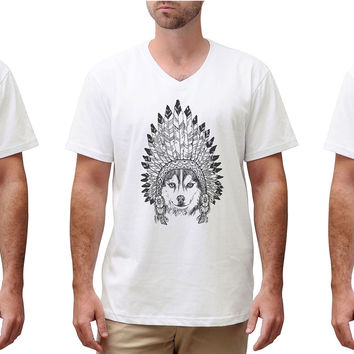 Men Animals wear headdress Graphic Printed Cotton Short Sleeves T-shirt MTS_02