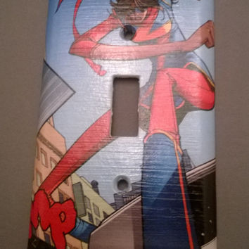 Comic Book superhero Ms Marvel comic light switch cover