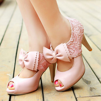 Fashion Lace bowknot High-Heeled Sandals 7354AQ