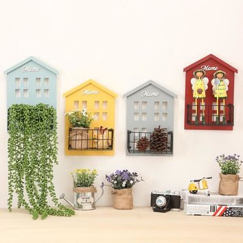 retro wooden organizer wall hanging rack flower pot holder Potted plant storage rack Small object shelf home decoration