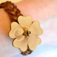 braided leather bracelet, teen leather bracelet, flower bracelet, leather bracelet, braided leather, leather and wood