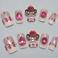 kawaii fake sweets nail art .The pretty princess fake nails.Decoden, Japanese 3D nails