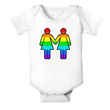 Rainbow Lesbian Women Holding Hands Baby Bodysuit One Piece