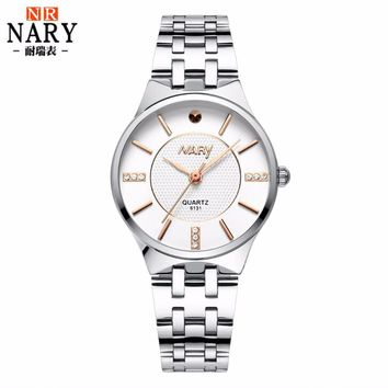 Luxury Brand Nary Quartz Watch Fashion Men Women Watches Stainless Steel Rhinestone Watch Casual business Watch relogio feminino