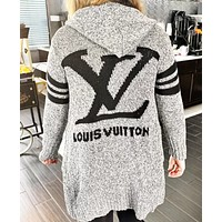 Adidas/LV Hooded Sweater Knit Cardigan Jacket Coat