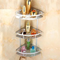 Antique Space Aluminum Corner Shelf Brushed Bathroom Shelves Silver Cosmetic Shelf 3 Layers Bathroom Accessories Products