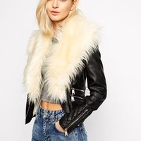 River Island | River Island Biker Jacket With Faux Fur Collar at ASOS