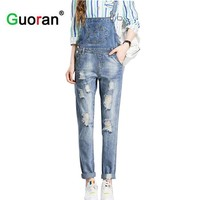 {Guoran}2017 Women Ripped Hole Denim Jumpsuits Ladies Sexy Jeans pants Casual Romper women destroyed jeans overalls plus size