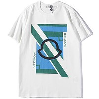 MONCLER Tide brand geometric contrast color fashion casual wild round neck half sleeve T-shirt white