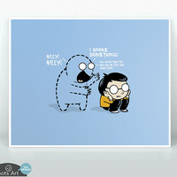 Worst Imaginary Friend Ever - matted art print. 5x7 or 8x10. Funny nursery or kids room wall art.