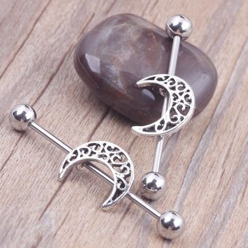 1Pcs Hollow Moon Helix Earring - Industrial Barbell Ear Piercing Jewelry