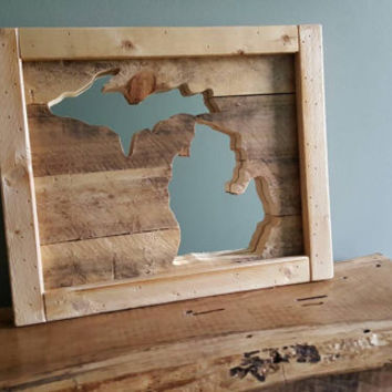Reclaimed Pallet wood state outline mirrors