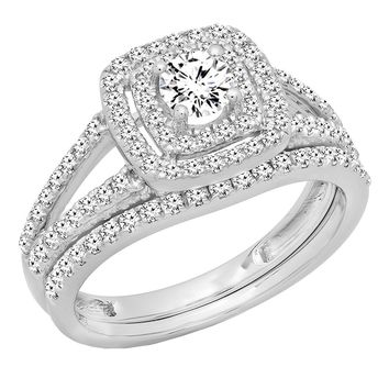 1.00 Carat (ctw) 10K Gold Round Diamond Split Shank Halo Engagement Ring Set 1 CT