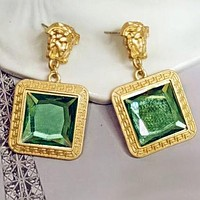 VERSACE Newest Women Exaggerated Stylish Gem Earrings Accessories Jewelry Green