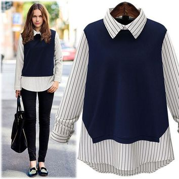 CREYUIB Large size 2016 New Autumn Fashion Women Peter pan Collar Stripe Stitching Long-Sleeved Shirt Ladies tops blouse