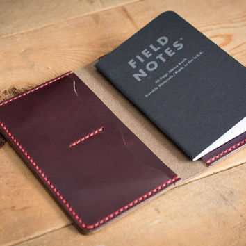 Burgundy Leather Field Notes Cover with Pockets