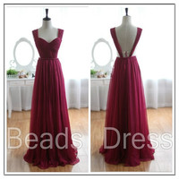 Burgundy Prom Dresses/ Straps Bridesmaid Dresses/ Long Evening Dresses/ Formal Dresses/ Chiffon Prom Gowns/ Custom Party Dresses