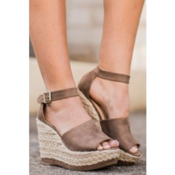 On The Upgrade Taupe Platform Wedges