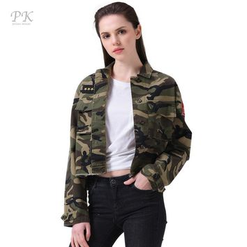 PK Military Jacket Women Fashion 2017 Army Green Denim Bomber Jackets Women Windbreaker Jacket Basic Veste Jeans Jacket Femme