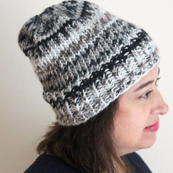 Fall and Winter Knit Hat, Chunky Knit Beanie, Women's Beanie, Gray Marble, Fall Accessories, Fair Isle Hat
