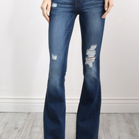 Flying Monkey Distressed Flare Bottom Jeans