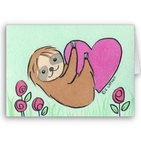 Baby Sloth Valentine - watercolor Greeting Cards from Zazzle.com