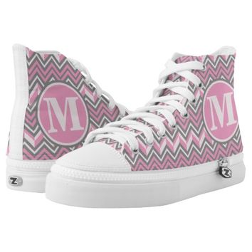 Monogramed Pink Grey Chevrons Personalized Printed Shoes