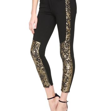True Religion Halle Super Skinny Crop Gold Paneled Womens Jean - Black Gold
