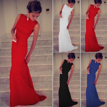 Long Party Women Dress 2015 Length Dress Explosion Models In Europe And America Slim Solid Round Neck Sleeveless Maxi Dress
