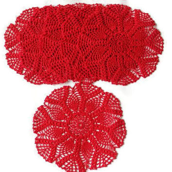 Set Of Six - Doily -Red Coasters - Home Decor - Elegant Houseware