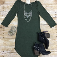 Fall Fashion Tunic Dress: Olive