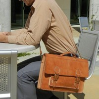 Leather Briefcase Messenger Bag - DISCOUNTED/Imperfection; One Only