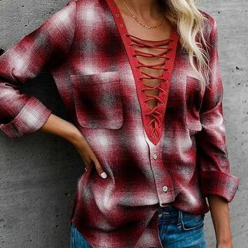 Burgundy Plaid Plunge Eyelet Lace Up Front Long Sleeve Shirt