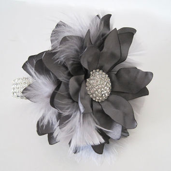 Dark Gray Rhinestone Bracelet Corsage with Light Gray Feathers Wrist Corsage Set Prom Homecoming  Matching Boutonniere Custom Order