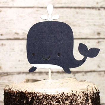 Whale Nautical Cake Topper in Navy