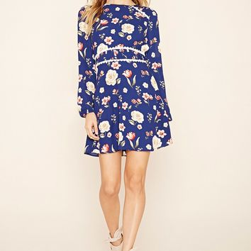 Floral Print Pintucked Dress