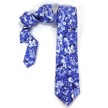 Blue Rose Skinny tie, Royal blue floral, Rose floral necktie, Floral Rose tie, Periwinkle blue, narrow tie, statement tie, blue floral tie